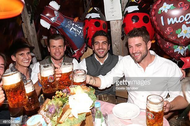 Elyas M'Barek and friends during the Oktoberfest 2015 at Kaeferschaenke at Theresienwiese on Oktober 02, 2015 in Munich, Germany.