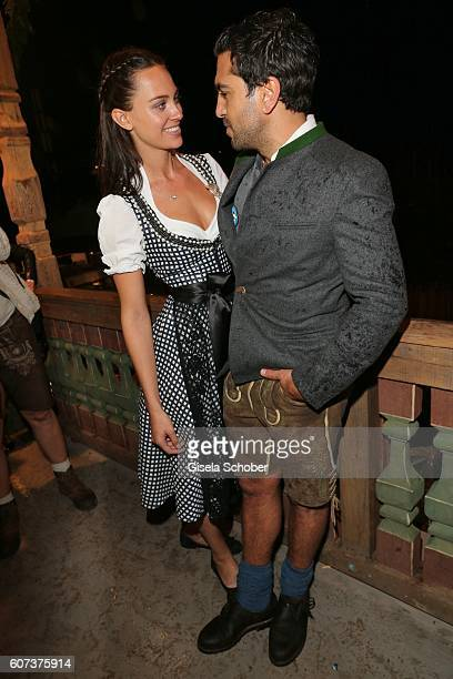 Elyas M'Barek and his girlfriend Julia Czechner during the opening of the oktoberfest 2016 at the 'Kaeferschaenke' beer tent at Theresienwiese on...