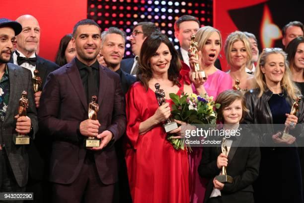 Elyas M'Barek and Iris Berben and Nadja Bernhard with award during the 29th ROMY award at Hofburg Vienna on April 7 2018 in Vienna Austria