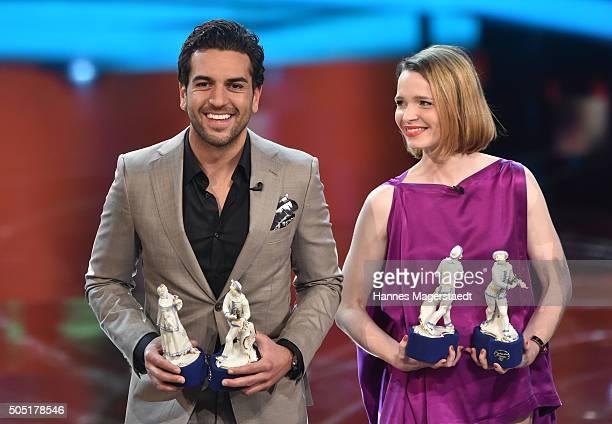 Elyas M'Barek and Karoline Herfurth during the Bavarian Film Award 2016 show at Prinzregententheater on January 15 2016 in Munich Germany