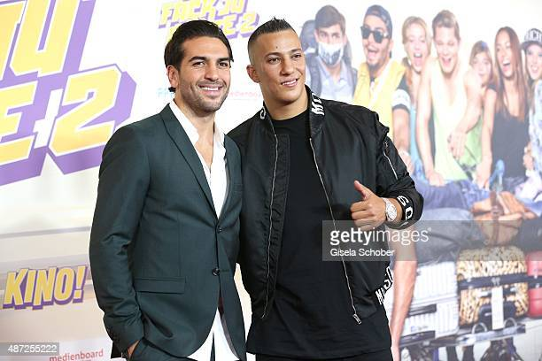 Elyas M'Barek and musician Farid Bang during the world premiere of 'Fack ju Goehte 2' at Mathaeser Kino on September 7 2015 in Munich Germany