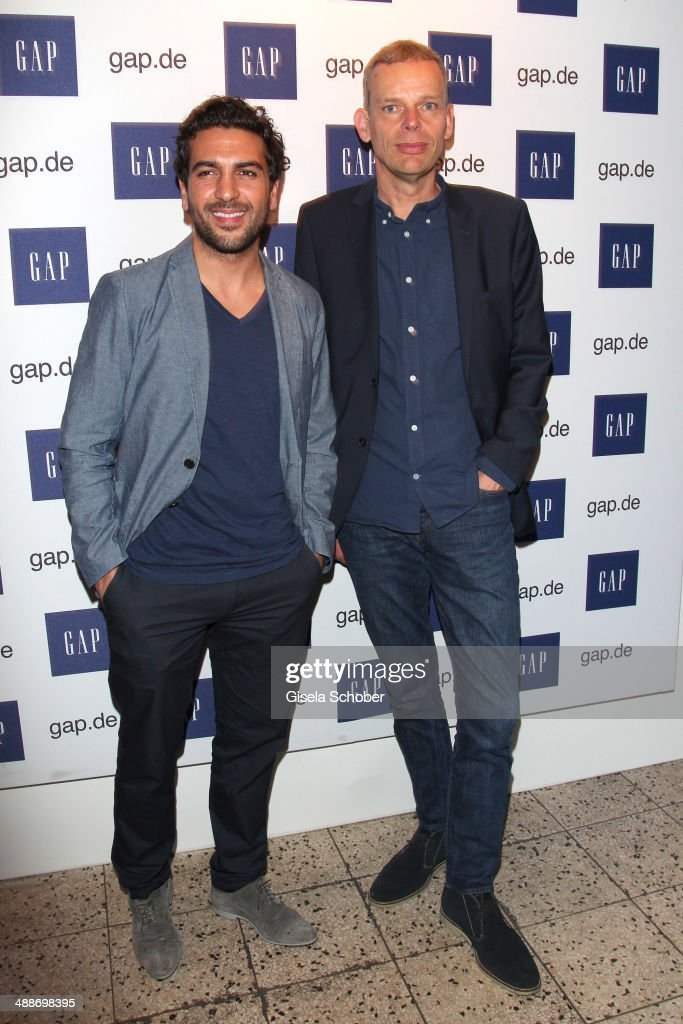 Elyas M'Barek and Senior Vice President, Gap Speciality International Stefan Labanattend the GAP Pop-Up Shop Opening on May 7, 2014 in Munich, Germany.