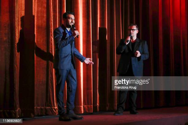 Elyas M'Barek and Torsten Koch during the Der Fall Collini premiere at Astor Filmlounge Hafen City on April 13 2019 in Hamburg Germany