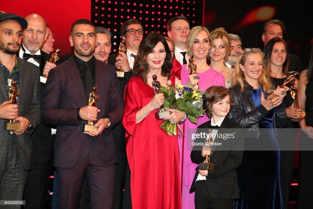 Elyas Mbarek Iris Berben Nadja Bernhard With Award During The