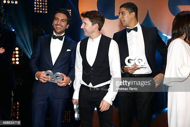 Elyas M'Barek James Blunt and Andreas Bourani are seen on stage at the GQ Men Of The Year Award 2014 at Komische Oper on November 6 2014 in Berlin...