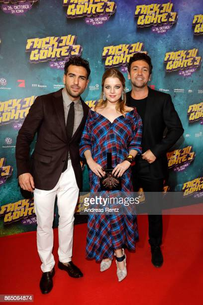 Elyas M'Barek, Jella Haase and Bora Dagtekin attend the 'Fack ju Goehte 3' premiere at Mathaeser Filmpalast on October 22, 2017 in Munich, Germany.