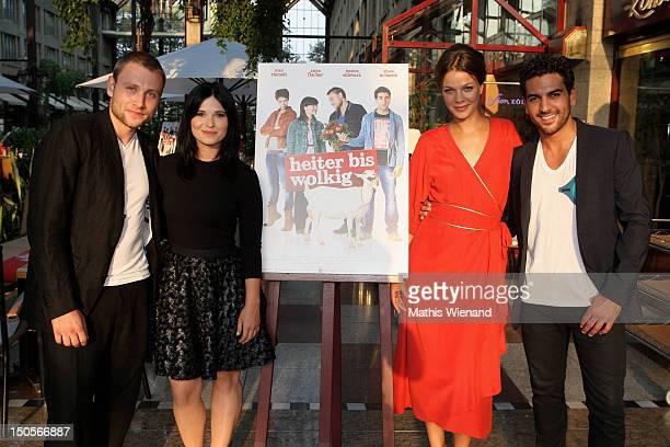Elyas M'Barkek Jessica Scharz Anna Fischer Max Riemelt attend the 'Heiter Bis Wolkig' Germany Premiere at Cinedome on MediaPark on August 21 2012 in...