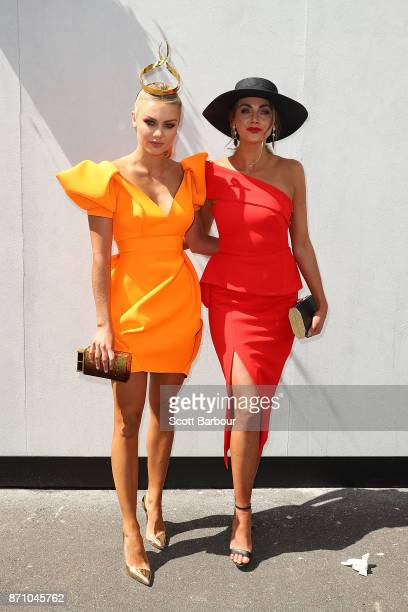 Elyse Knowles and Brooke Meredith pose at the Kennedy Marquee on Melbourne Cup Day at Flemington Racecourse on November 7 2017 in Melbourne Australia