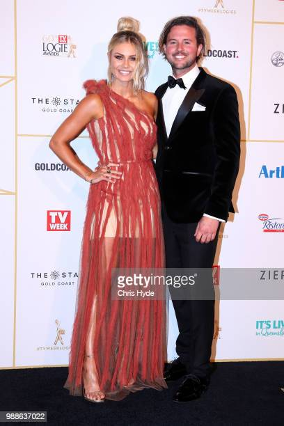 Elyse Knowles and Josh Barker arrive at the 60th Annual Logie Awards at The Star Gold Coast on July 1 2018 in Gold Coast Australia