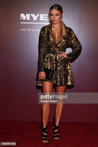 Elyse Knowles arrives ahead of the Myer Autumn 2017 Fashion Launch on February 16 2017 in Melbourne Australia