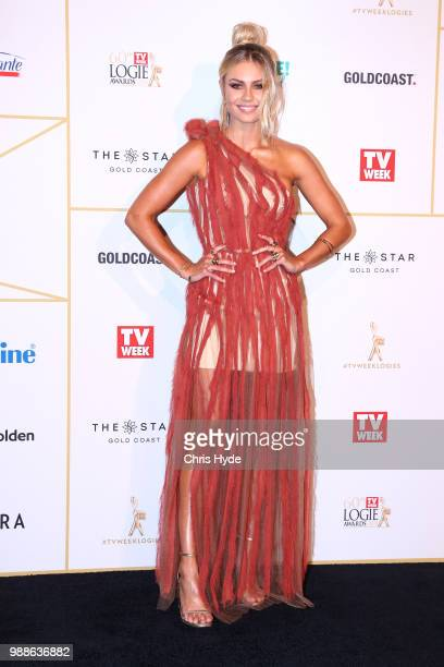 Elyse Knowles arrives at the 60th Annual Logie Awards at The Star Gold Coast on July 1 2018 in Gold Coast Australia