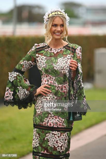 Elyse Knowles attends the David Jones Marquee on Caulfield Cup Day at Caulfield Racecourse on October 21 2017 in Melbourne Australia