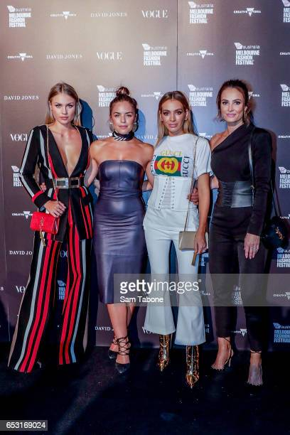 Elyse Knowles Olympia Vallance Nadia Bartel and Kylie Brown arrives ahead of the VAMFF 2017 Gala Runway show on March 14 2017 in Melbourne Australia