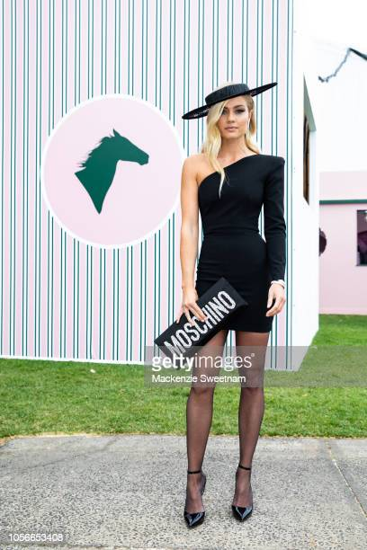 Elyse Knowles poses at The Park on Derby Day at Flemington Racecourse on November 3 2018 in Melbourne Australia