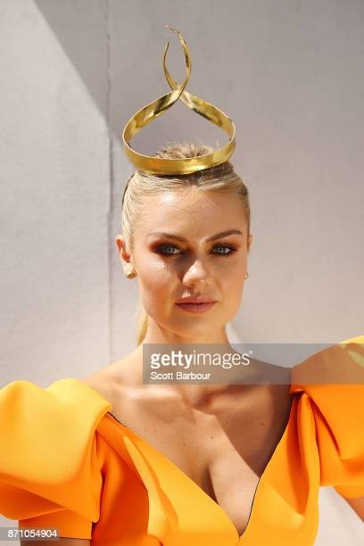 Elyse Knowles poses on Melbourne Cup Day at Flemington Racecourse on November 7 2017 in Melbourne Australia