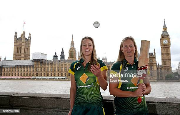 Elyse Perry and Meg Lanning of the Australian Women's cricket team pose in front of Big Ben on August 3 2015 in London England