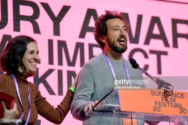 Elyse Steinberg and Josh Kriegman speak onstage during the 2020 Sundance Film Festival Awards Night Ceremony at Basin Recreation Field House on...