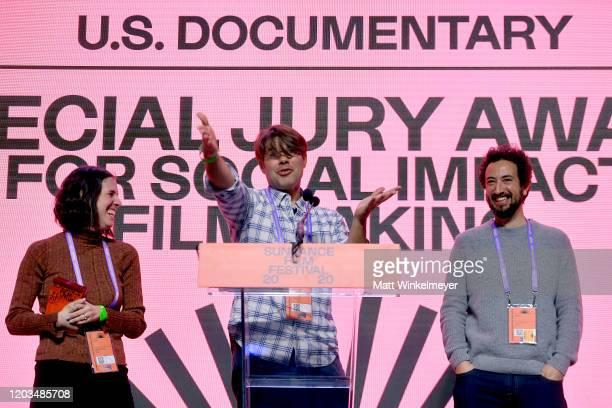 Elyse Steinberg Josh Kriegman and Eli Despres speak onstage during the 2020 Sundance Film Festival Awards Night Ceremony at Basin Recreation Field...
