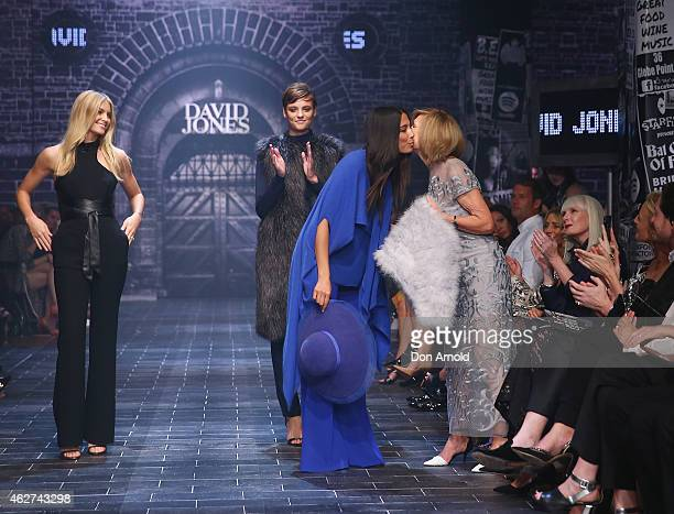 Elyse Taylor and Montana Cox look on as Jessica Gomes congratulates Carla Zampatti at the David Jones Autumn/Winter 2015 Collection Launch at David...