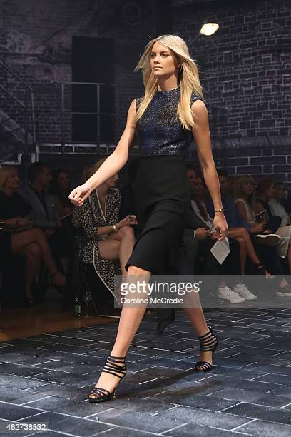 Elyse Taylor showcases designs by Camilla and Marc at the David Jones Autumn/Winter 2015 Collection Launch at David Jones Elizabeth Street Store on...