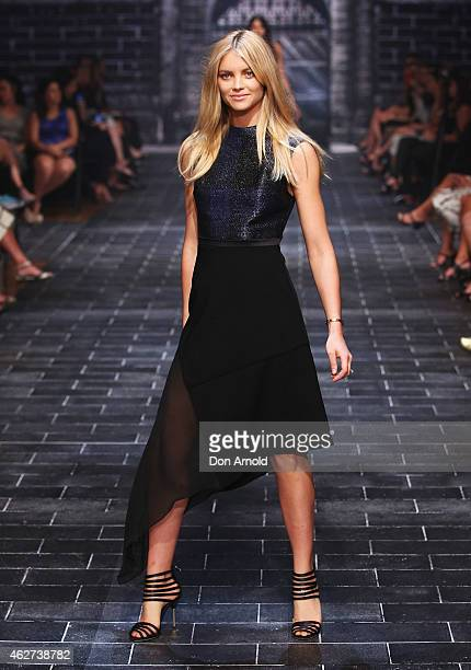 Elyse Taylor showcases designs by Camilla and Marc during a rehearsal ahead of the David Jones Autumn/Winter 2015 Collection Launch at David Jones...