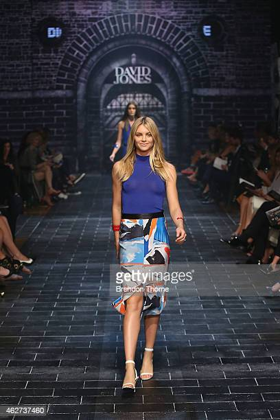 Elyse Taylor showcases designs by Dion Lee at the David Jones Autumn/Winter 2015 Collection Launch at David Jones Elizabeth Street Store on February...