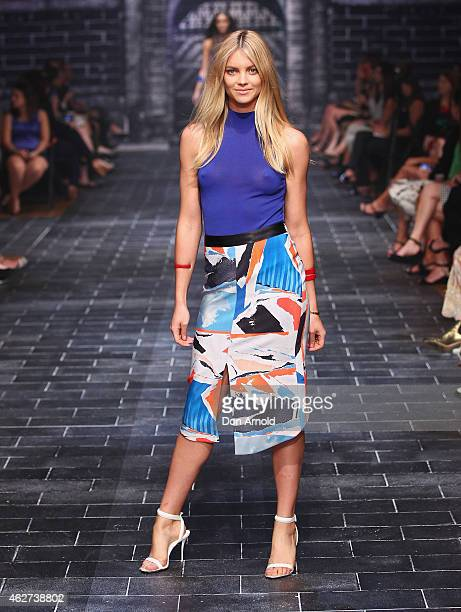 Elyse Taylor showcases designs by Dion Lee during a rehearsal ahead of the David Jones Autumn/Winter 2015 Collection Launch at David Jones Elizabeth...