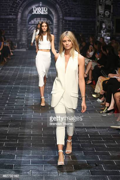 Elyse Taylor showcases designs by Ginger Smart during a rehearsal ahead of the David Jones Autumn/Winter 2015 Collection Launch at David Jones...