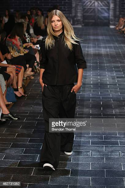 Elyse Taylor showcases designs by Jac Jack during a rehearsal ahead of the David Jones Autumn/Winter 2015 Collection Launch at David Jones Elizabeth...