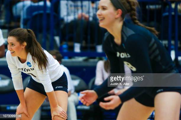 Elyse Thompson of Emory University waits for a serve from Calvin College during the Division III Women's Volleyball Championship held at the AJ...