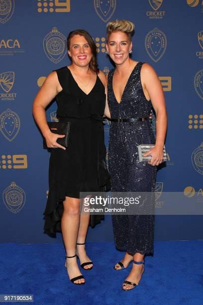 Elyse Villani and Lauren Morecroft arrive at the 2018 Allan Border Medal at Crown Palladium on February 12 2018 in Melbourne Australia