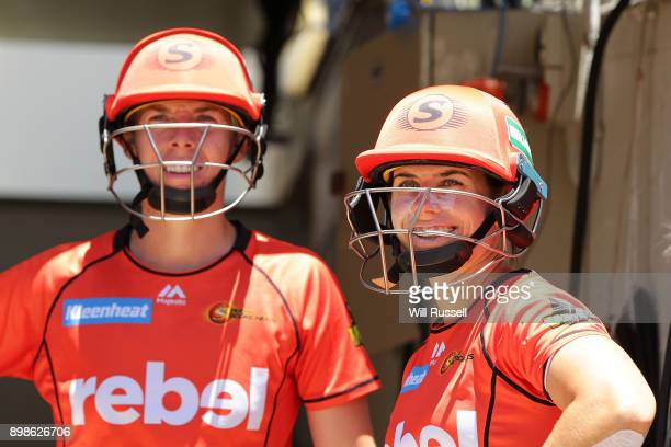 Elyse Villani and Nicole Bolton of the Scorchers wait to walk out to bat during the Women's Big Bash League match between the Perth Scorchers and the...
