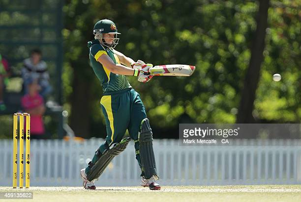 Elyse Villani of Australia bats during game four of the International One Day series between Australia and West Indies on November 18 2014 in Bowral...