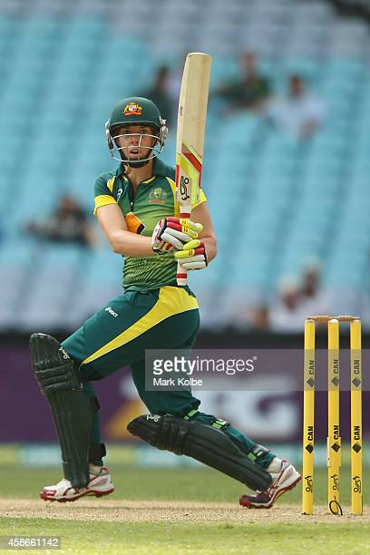 Elyse Villani of Australia bats during game four of the women's International Twenty20 series between Australia and the West Indies at ANZ Stadium on...