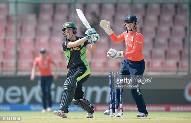 Elyse Villani of Australia bats during the Women's ICC World Twenty20 India 2016 Semi Final between England and Australia at Feroz Shah Kotla Ground...