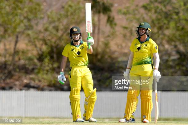 Elyse Villani of Australia celebrates her half century during the first Women's Twenty20 match between Australia A and India A at Bill Pippen Oval on...
