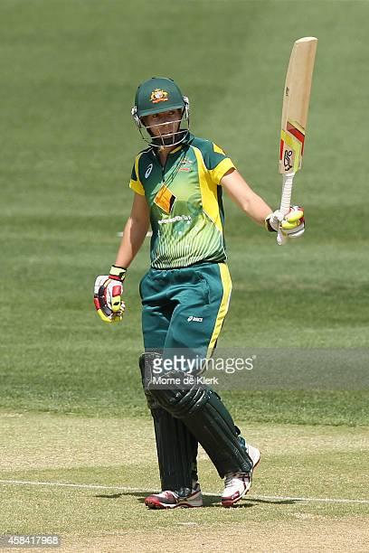 Elyse Villani of Australia celebrates reaching 50 runs during game two of the International Women's Twenty20 series between Australia and the West...