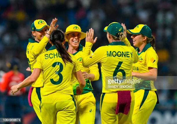 Elyse Villani of Australia celebrates the dismissal of Tammy Beaumont of England during the ICC Women's World T20 final cricket match between...