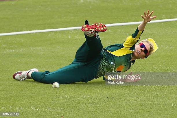 Elyse Villani of Australia drops a catch in the outfield during game one of the Australia and West Indies one day international series at Hurstville...