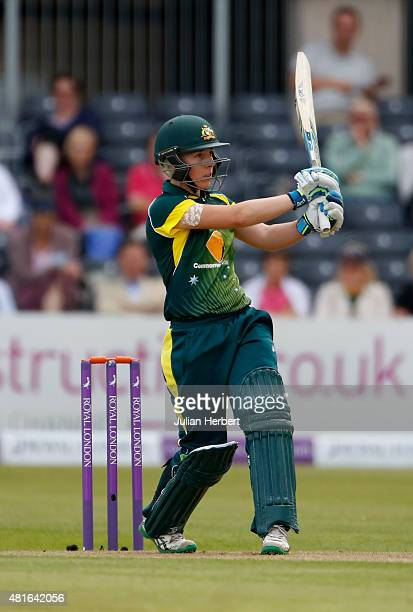 Elyse Villani of Australia hits out during the 2nd Royal London ODI of the Women's Ashes Series between England Women v Australia Women at The County...