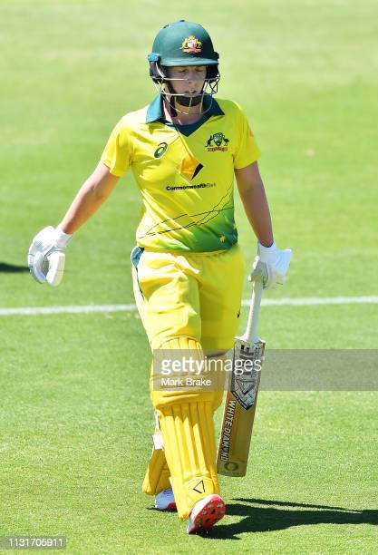 Elyse Villani of Australia out for a duck off the bowling of Amelia Kerr of New Zealand during game two of the One Day International Series between...