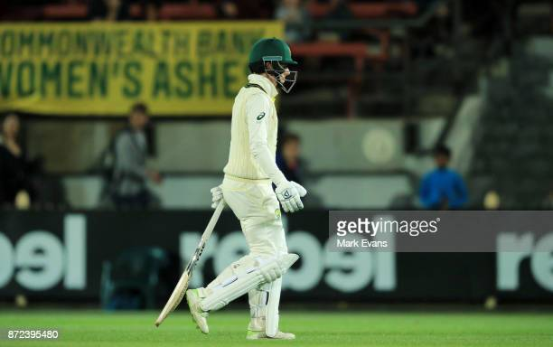 Elyse Villani of Australia walks off after being out lbw during day two of the Women's Test match between Australia and England at North Sydney Oval...