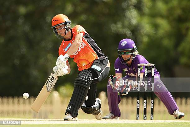 'SYDNEY AUSTRALIA DECEMBER 10 Elyse Villani of the Scorchers bats during the Women's Big Bash League match between the Hobart Hurricanes and the...