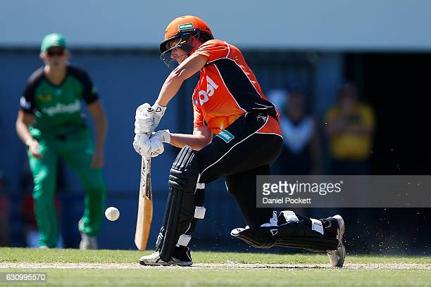 Elyse Villani of the Scorchers bats during the Women's Big Bash League match between the Perth Scorchers and the Melbourne Stars and Toorak Park on...
