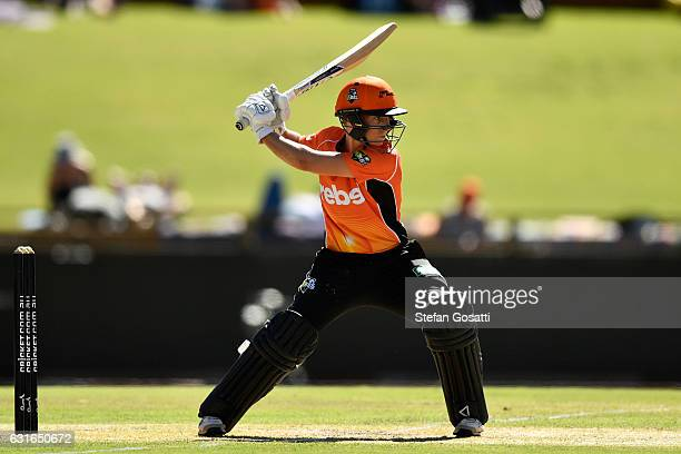 Elyse Villani of the Scorchers bats during the Women's Big Bash League match between the Perth Scorchers and the Adelaide Strikers at WACA on January...