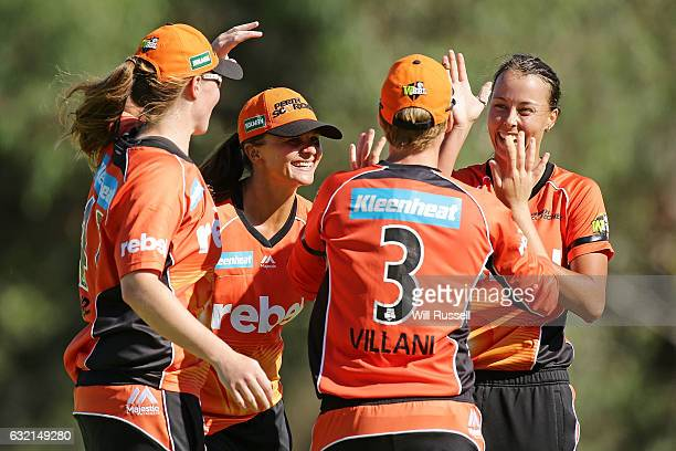 Elyse Villani of the Scorchers celebrates after taking a catch off Naomi Stalenberg of the Thunder during the Women's Big Bash League match between...
