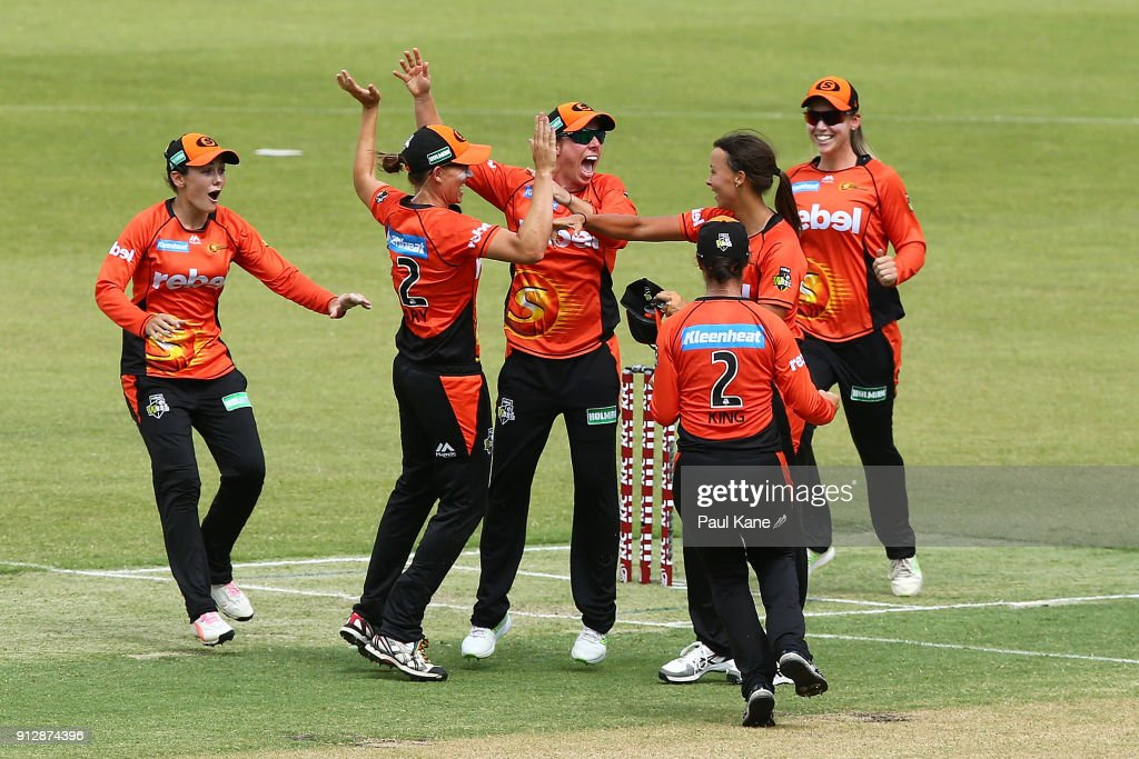 Elyse Villani of the Scorchers celebrates with team mates after winning the Women's Big Bash League semi final match between the Sydney Thunder and the Perth Scorchers at Optus Stadium on February 1, 2018 in Perth, Australia.