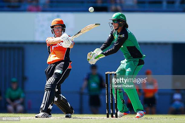 Elyse Villani of the Scorchers hits a four during the Women's Big Bash League match between the Perth Scorchers and the Melbourne Stars and Toorak...