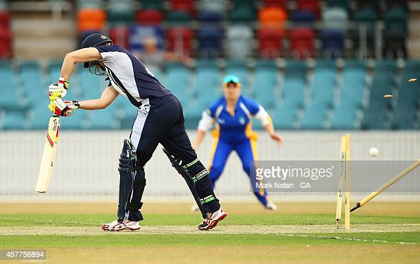 Elyse Villani of the Spirit is bowled during the women's T20 match between the ACT and Victoria at Manuka Oval on October 24 2014 in Canberra...