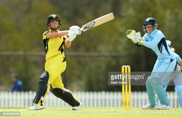Elyse Villani of WA bats during the WNCL Final match between New South Wales and Western Australia at Blacktown International Sportspark on February...